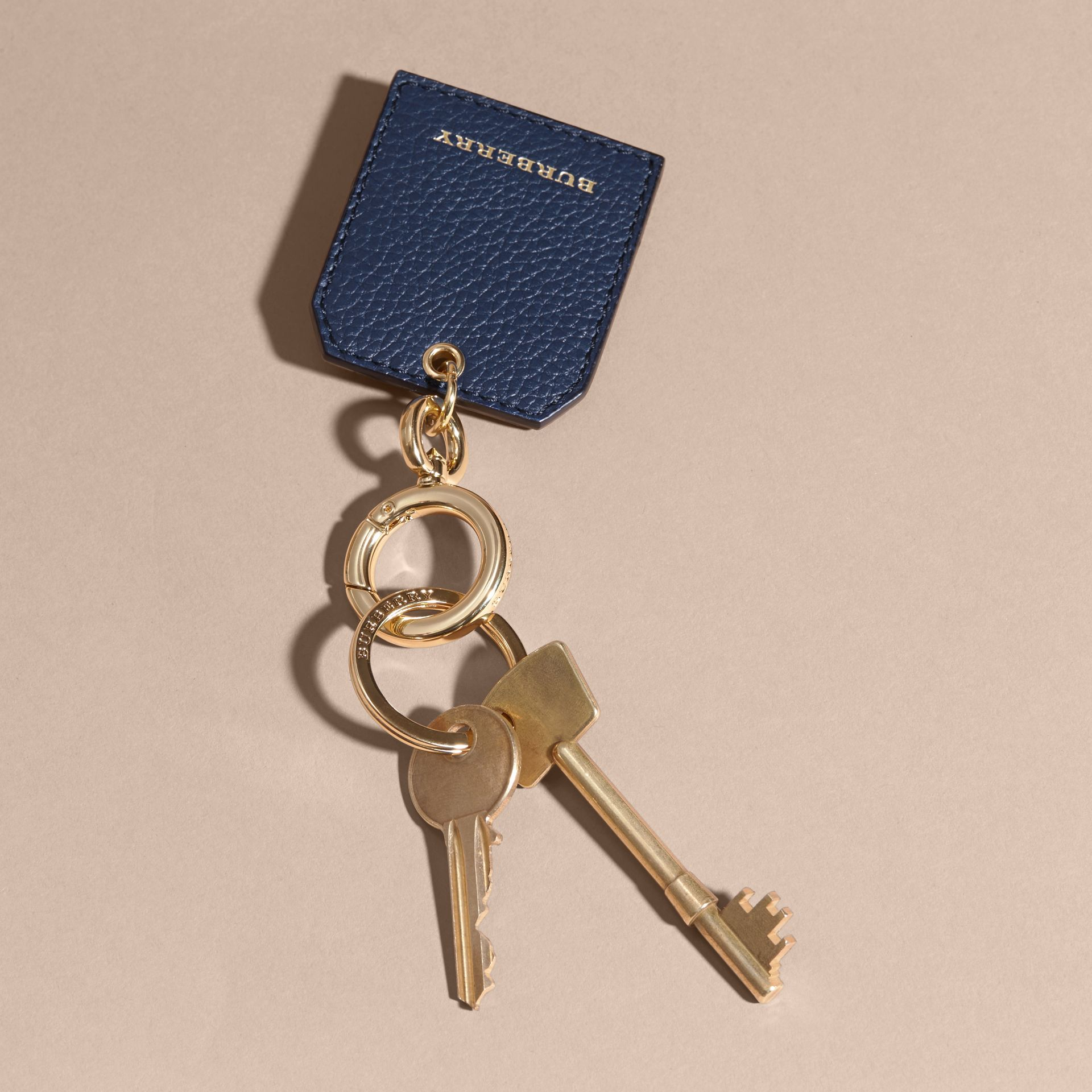 Grainy Leather Key Charm in Bright Navy - Women | Burberry Australia - gallery image 3