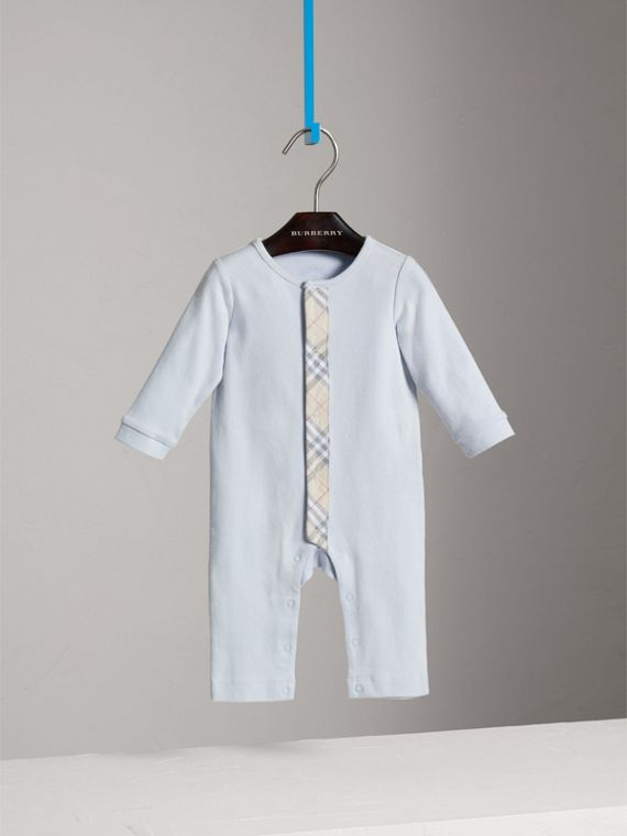 Check Trim Cotton Jumpsuit in Ice Blue | Burberry Canada - cell image 2