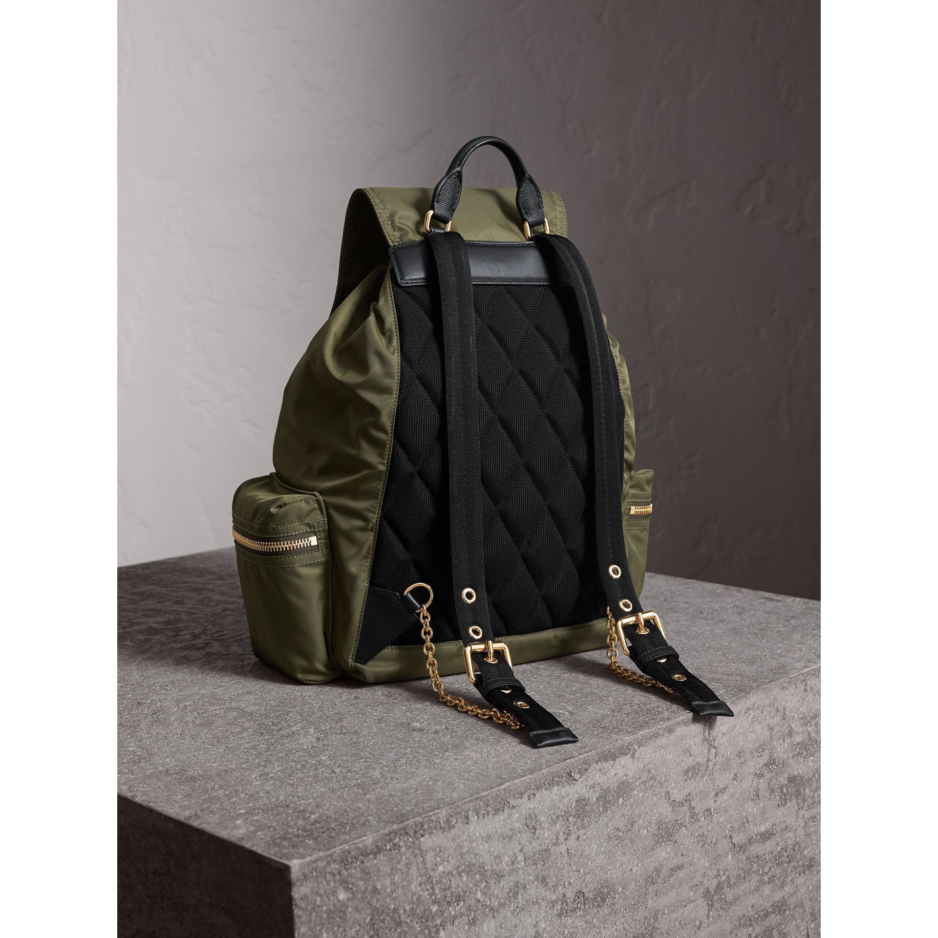 The Large Rucksack in Technical Nylon and Leather in Canvas Green - Women | Burberry United Kingdom - gallery image 3