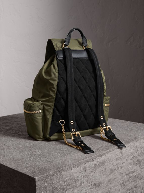 The Large Rucksack in Technical Nylon and Leather in Canvas Green - Women | Burberry - cell image 3