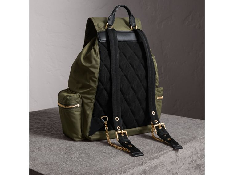 The Large Rucksack in Technical Nylon and Leather in Canvas Green - Women | Burberry - cell image 4