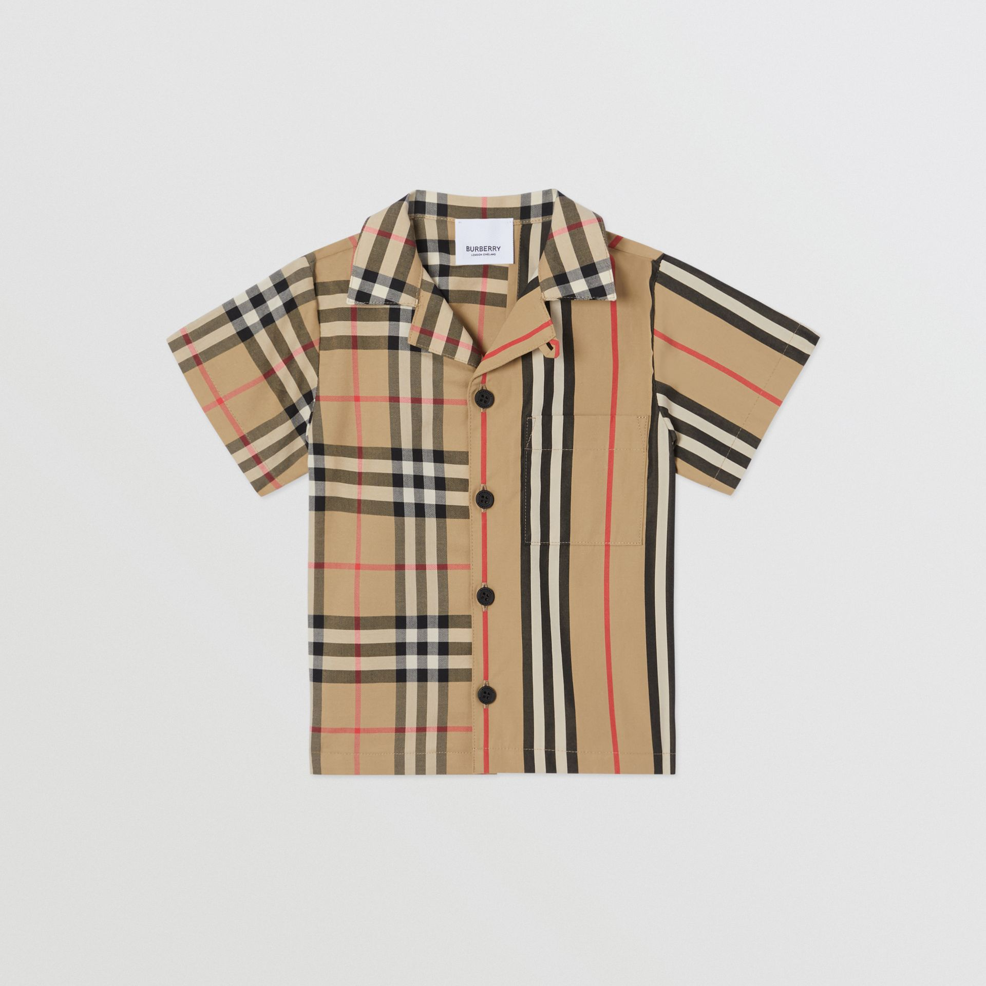 Short-sleeve Vintage Check and Icon Stripe Cotton Shirt in Archive Beige - Children | Burberry United States - gallery image 0
