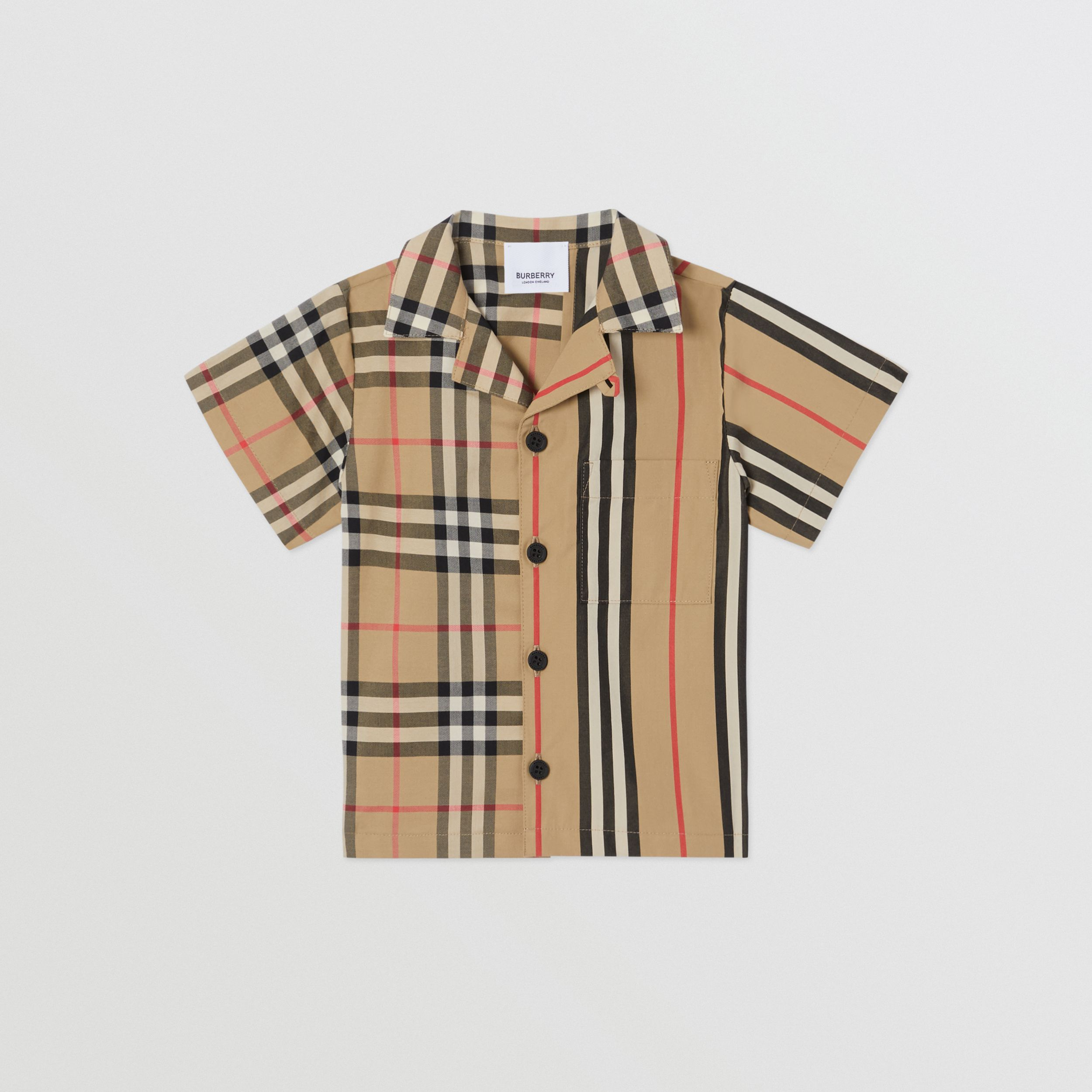 Short-sleeve Vintage Check and Icon Stripe Cotton Shirt in Archive Beige - Children | Burberry - 1
