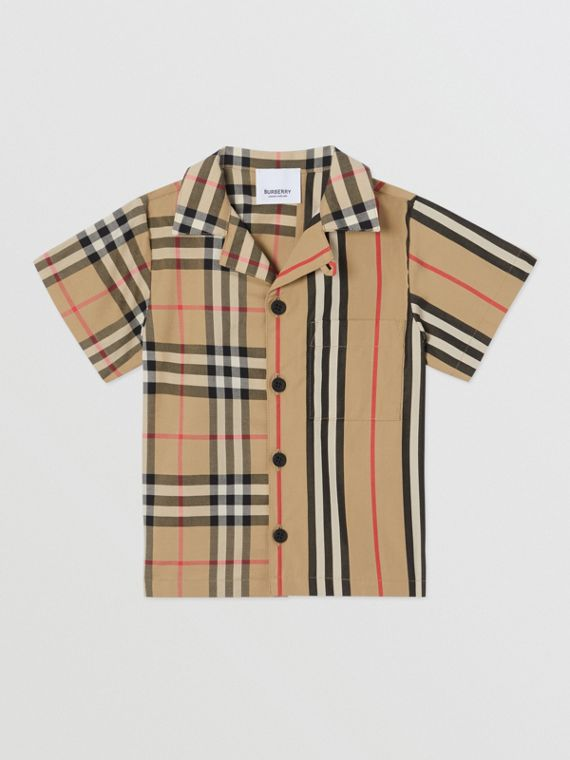 Short-sleeve Vintage Check and Icon Stripe Cotton Shirt in Archive Beige