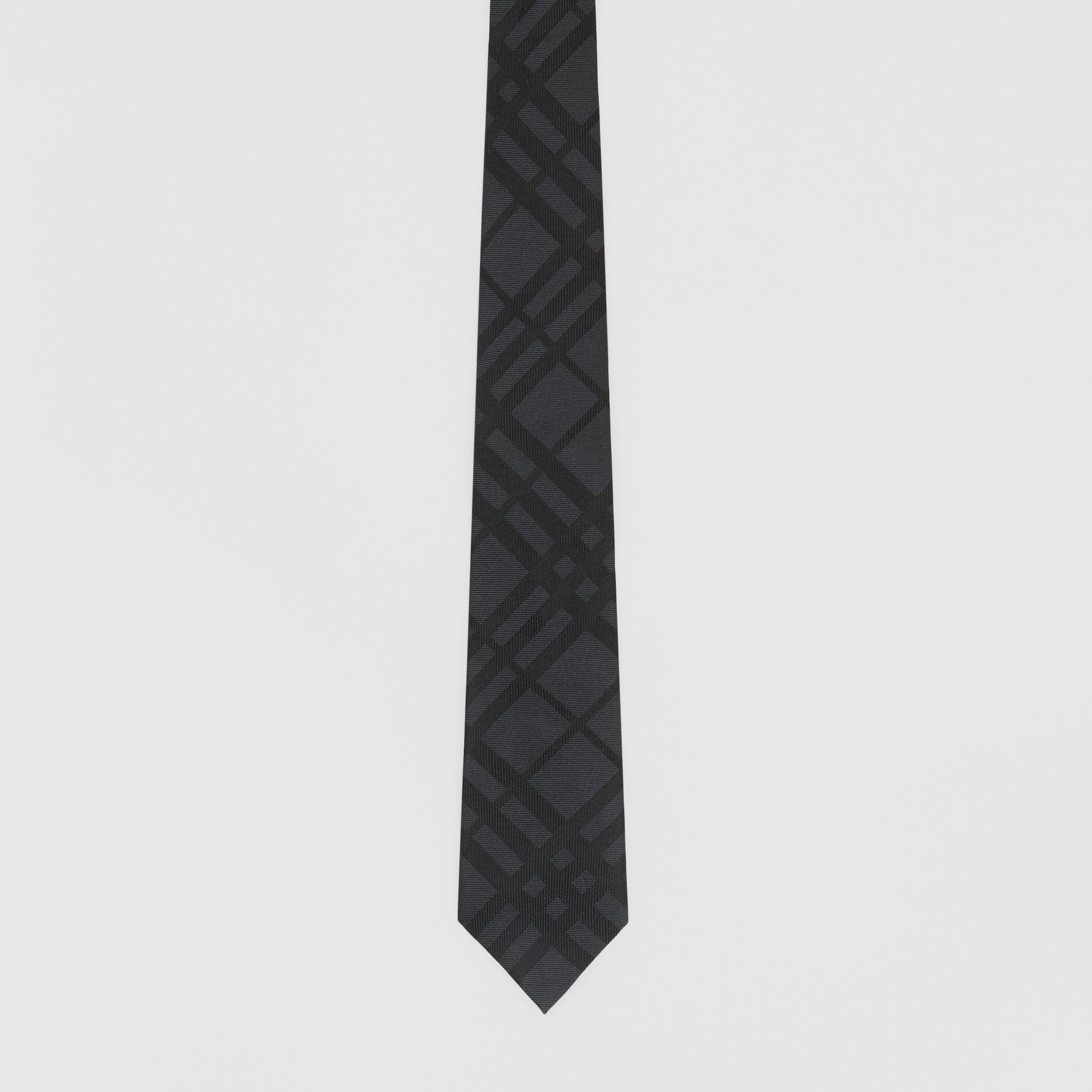 Classic Cut Check Silk Jacquard Tie in Charcoal - Men | Burberry - gallery image 3