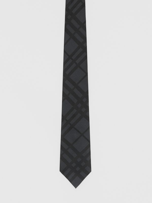 Classic Cut Check Silk Jacquard Tie in Charcoal - Men | Burberry - cell image 3