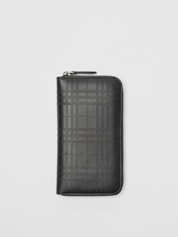 Perforated Check Leather Ziparound Wallet in Black