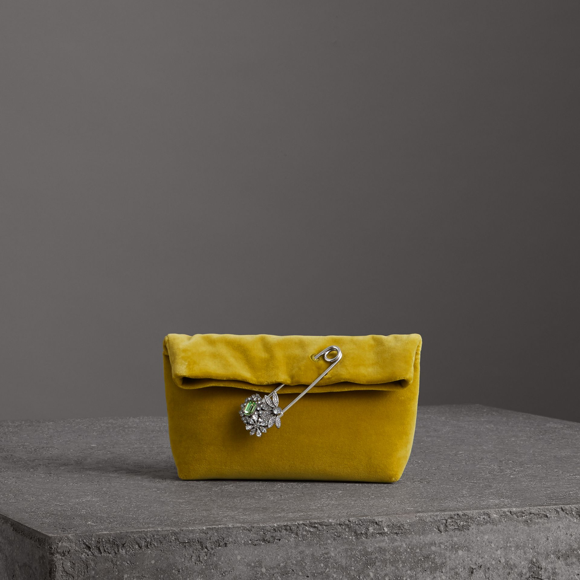 The Small Pin Clutch in Velvet in Larch Yellow - Women | Burberry United Kingdom - gallery image 0