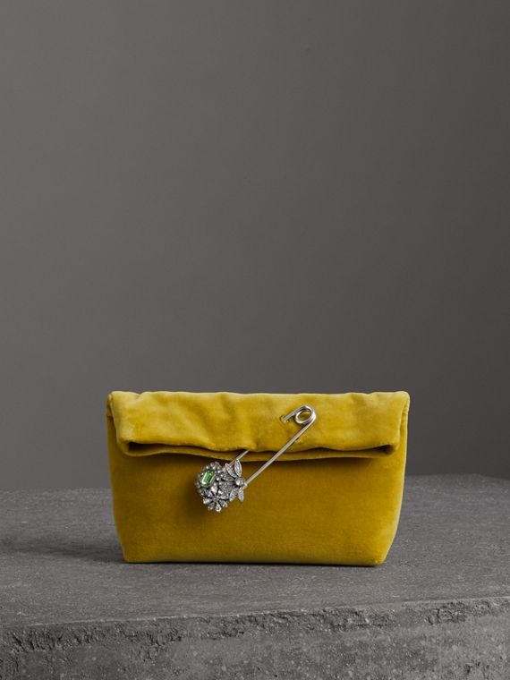 Petit clutch The Pin en velours (Jaune Mélèze)