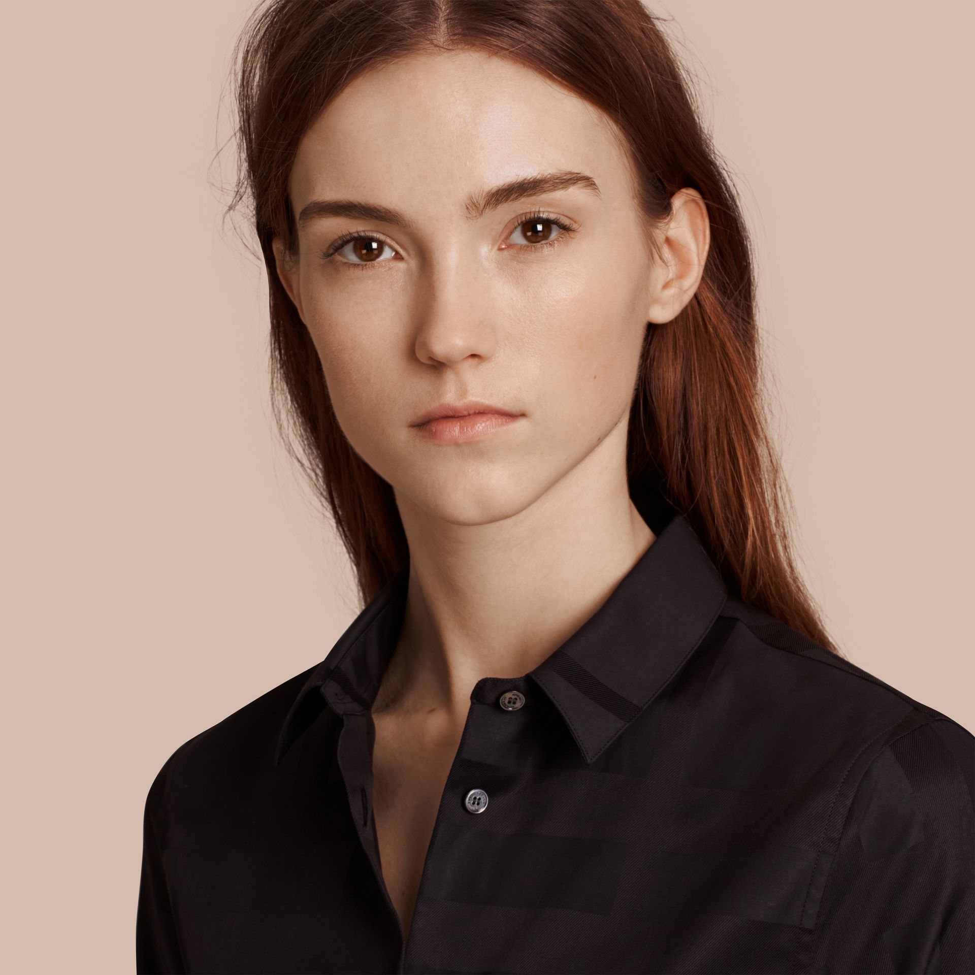 Check Jacquard Cotton Shirt in Black - Women | Burberry Australia - gallery image 5