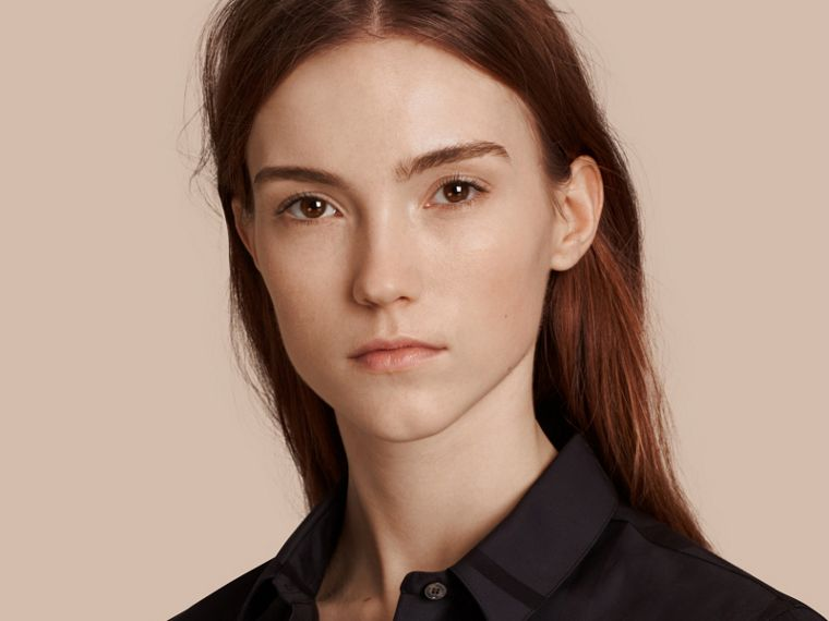 Check Jacquard Cotton Shirt in Black - Women | Burberry Australia - cell image 4
