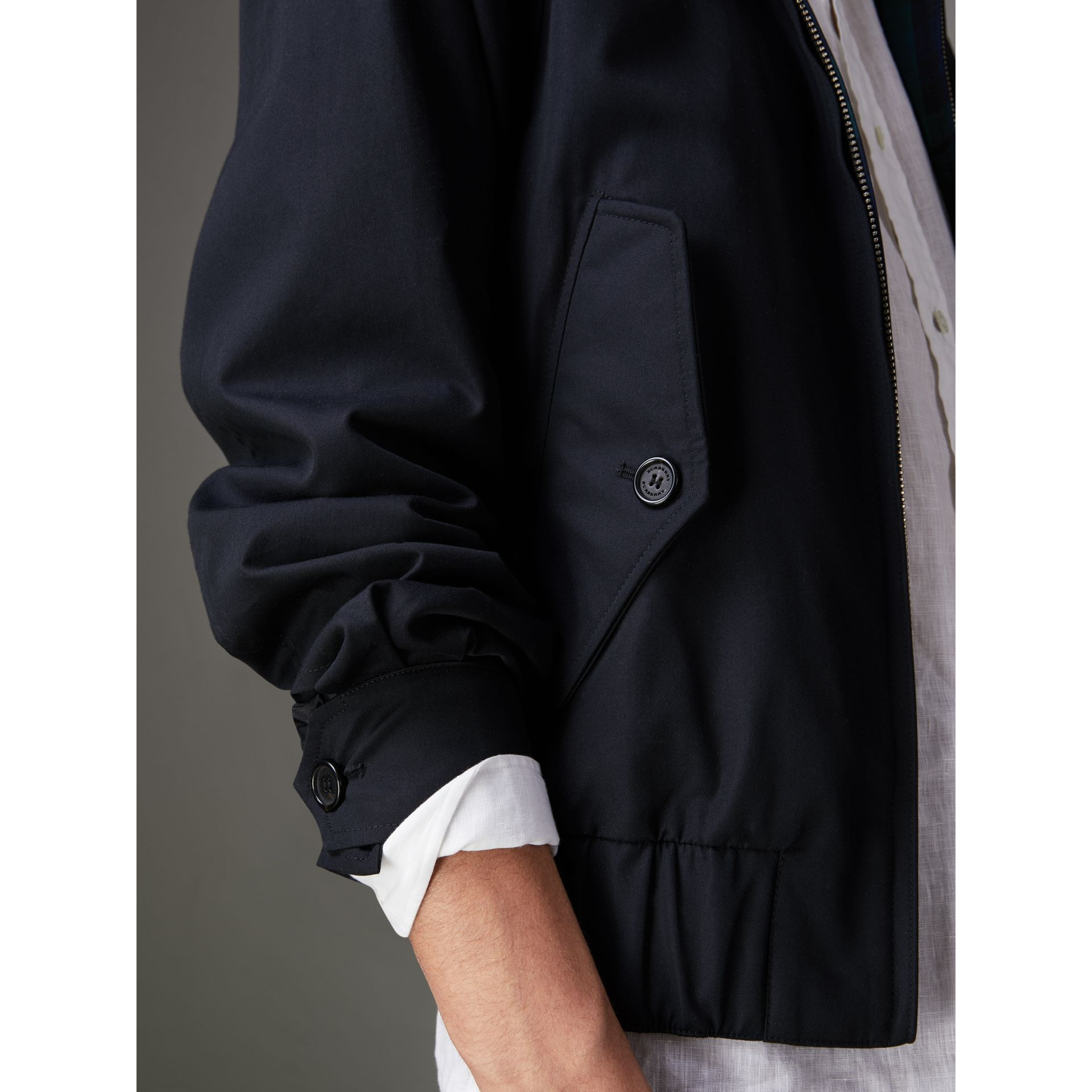 Cotton Gabardine Harrington Jacket in Navy - Men | Burberry - gallery image 1