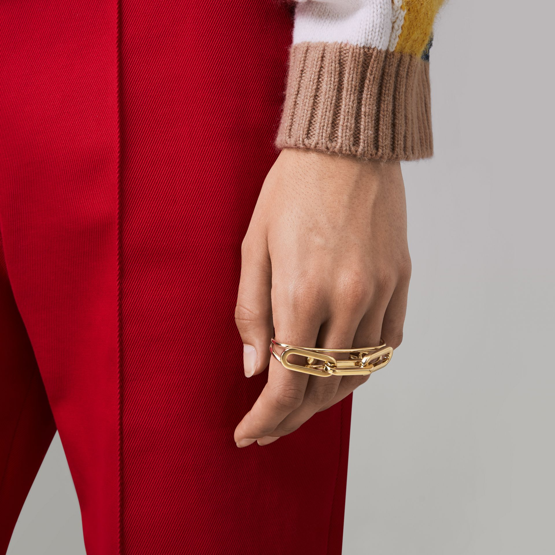 Gold-plated Link Double Ring in Light - Women | Burberry Australia - gallery image 2