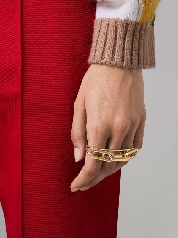 Gold-plated Link Double Ring in Light - Women | Burberry - cell image 2
