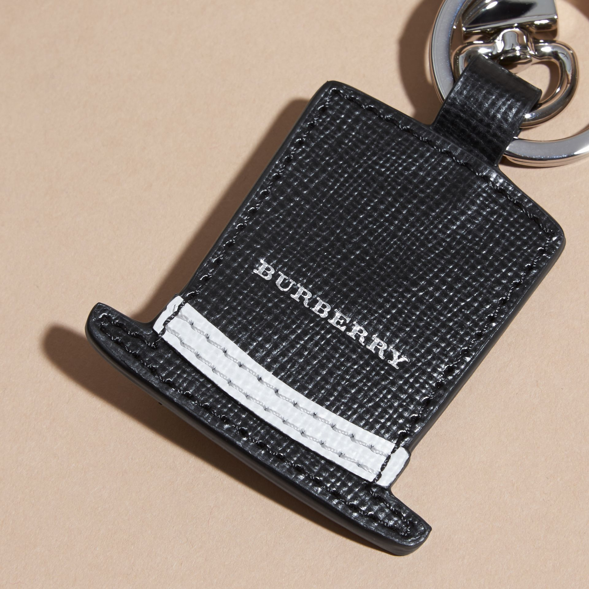 Top Hat Key Ring in Leather - gallery image 2