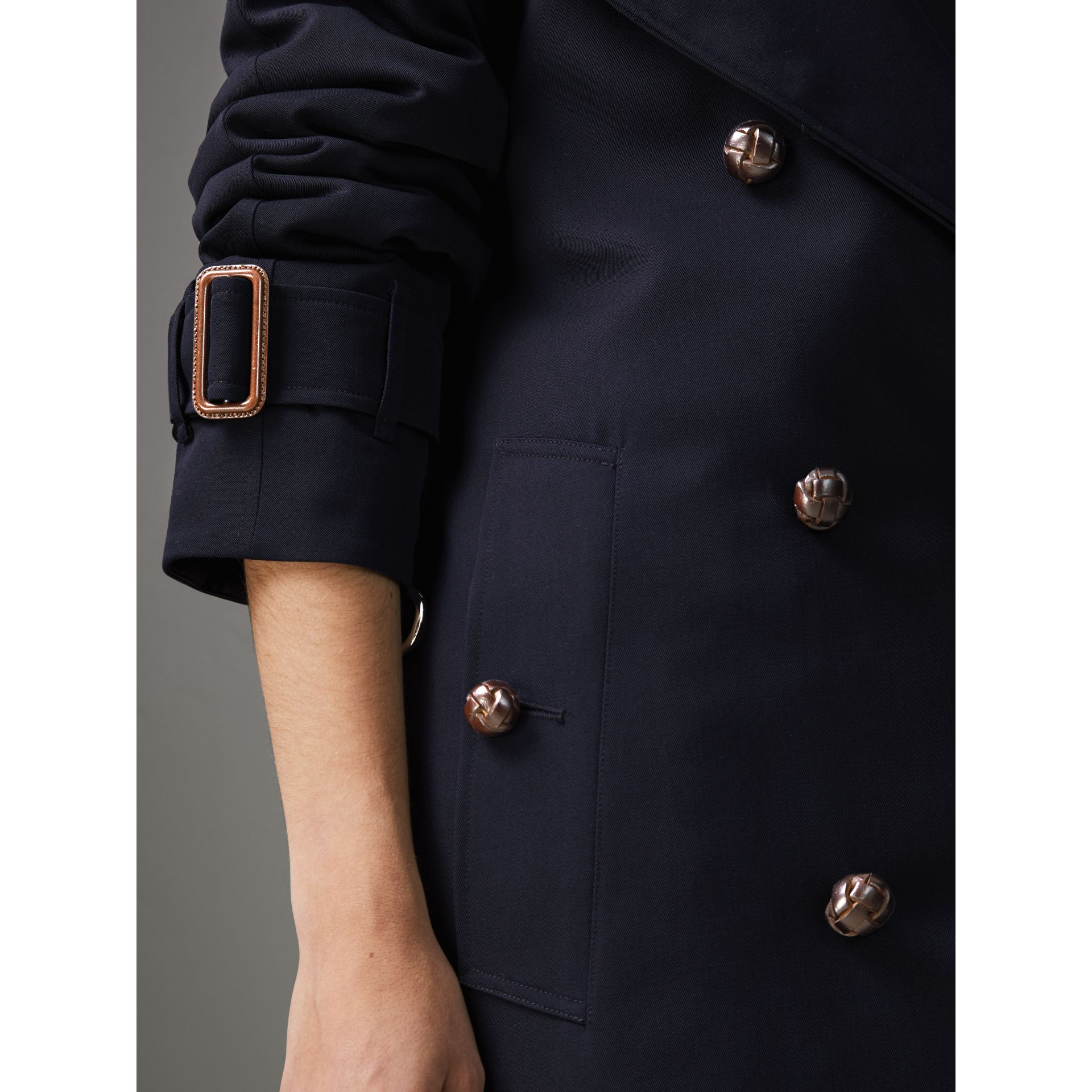 Oversized Lapel Wool Gabardine Trench Coat in Navy - Women | Burberry - gallery image 1
