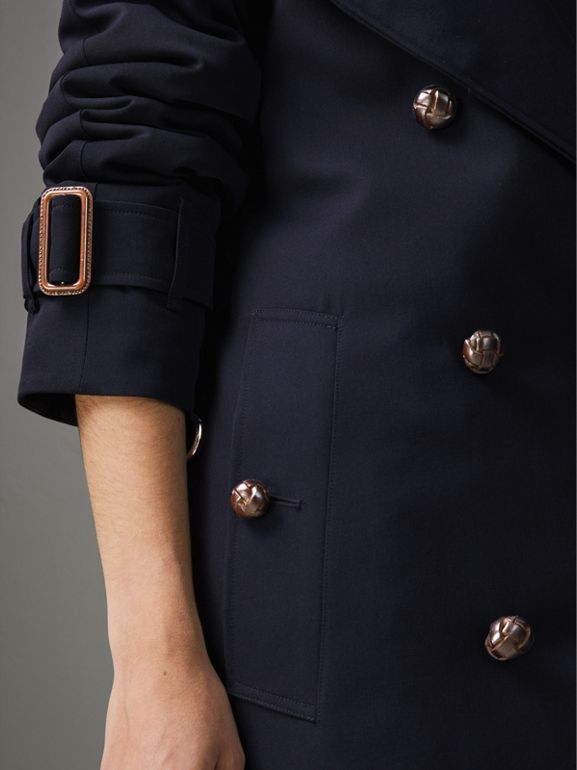 Oversized Lapel Wool Gabardine Trench Coat in Navy - Women | Burberry United Kingdom - cell image 1