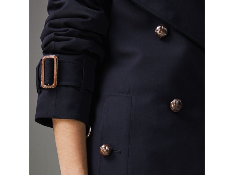 Oversized Lapel Wool Gabardine Trench Coat in Navy - Women | Burberry Hong Kong - cell image 1