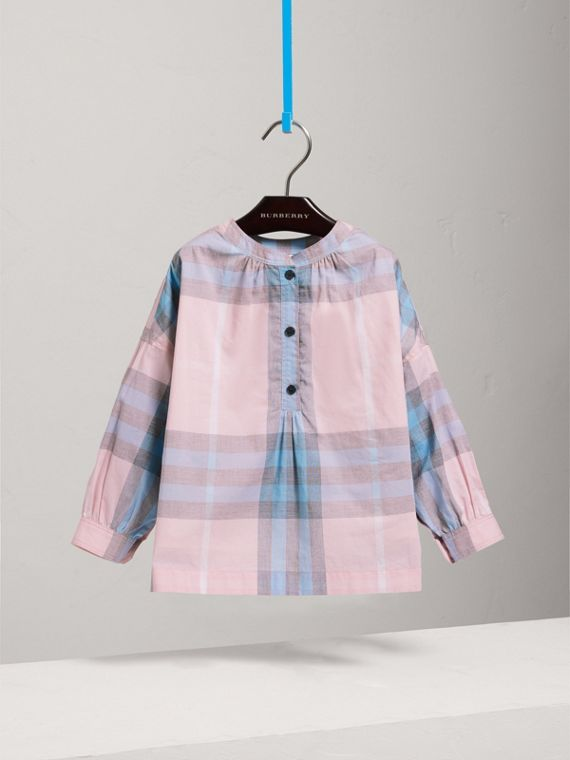 Gathered Check Cotton Shirt in Ice Pink - Girl | Burberry United States - cell image 2
