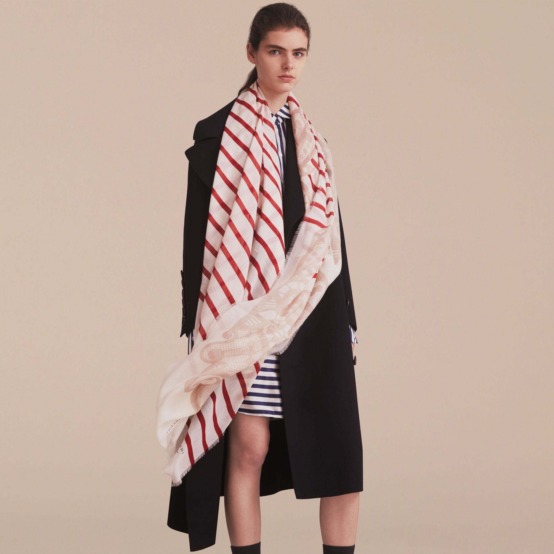 Lace and Breton Stripe Print Cashmere Silk Scarf - Women | Burberry - gallery image 3