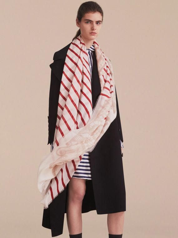 Lace and Breton Stripe Print Cashmere Silk Scarf - Women | Burberry - cell image 2