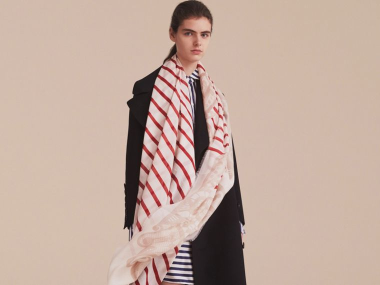 Lace and Breton Stripe Print Cashmere Silk Scarf in Natural White - Women | Burberry - cell image 2