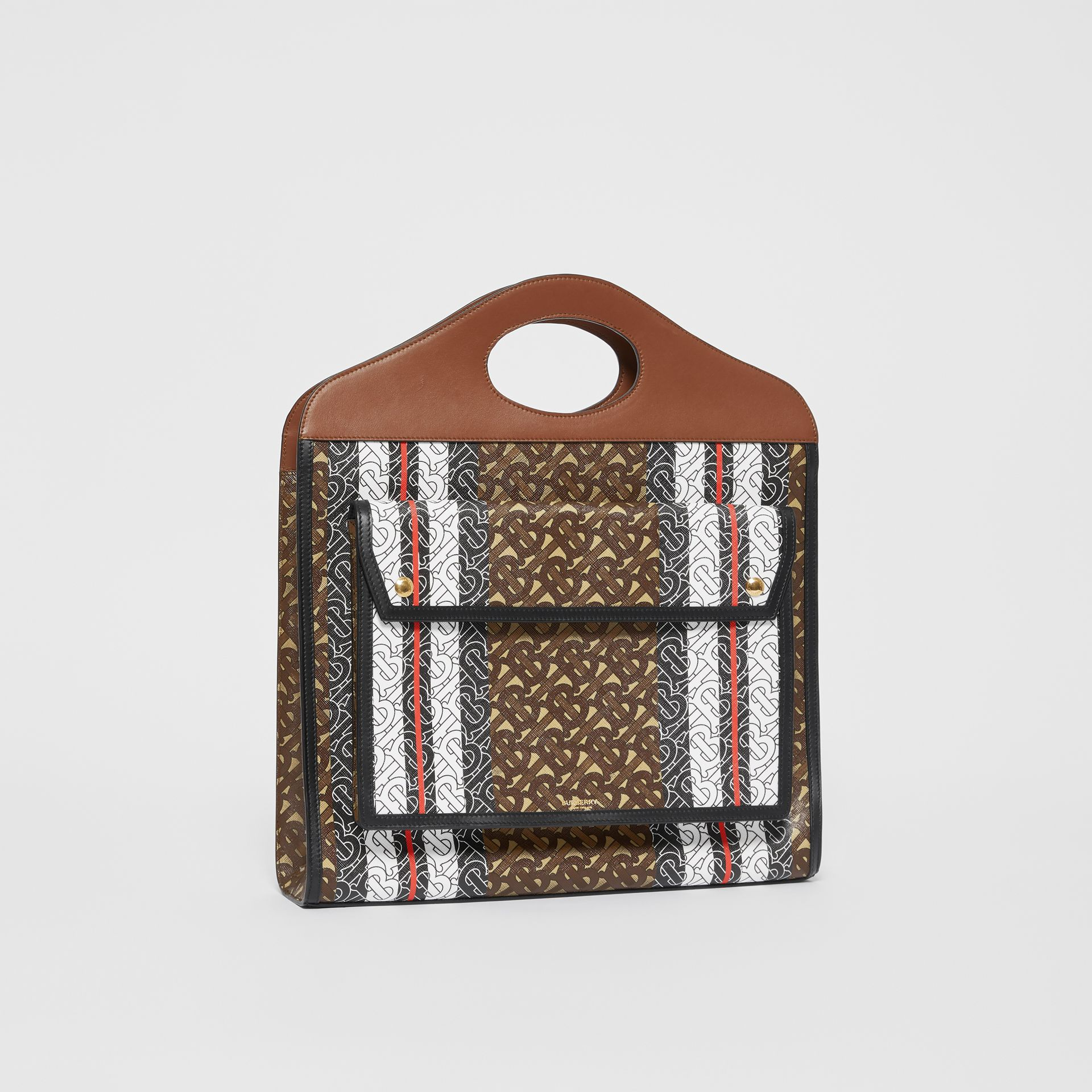 Medium Monogram Stripe E-canvas Pocket Bag in Bridle Brown - Women | Burberry - gallery image 6
