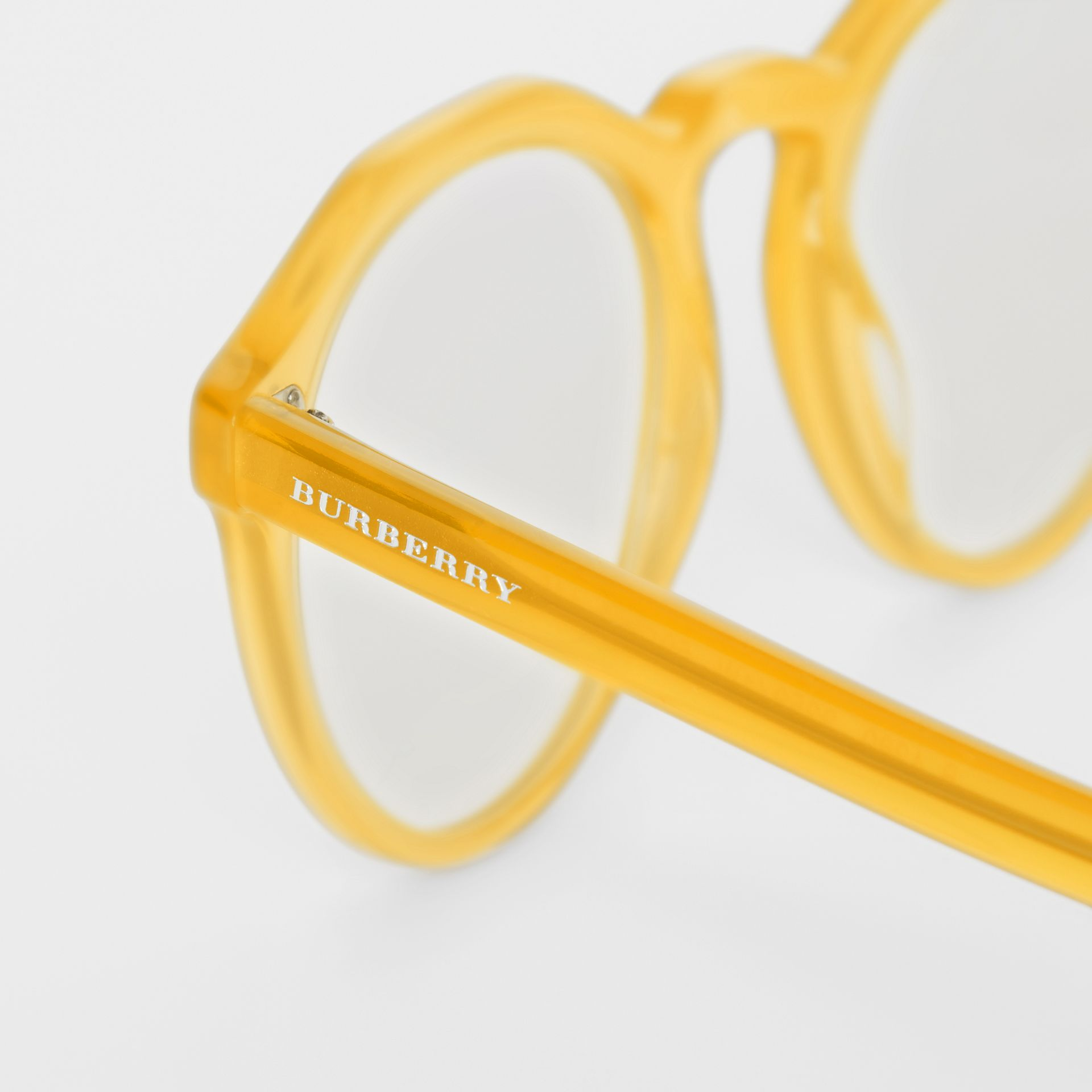 Keyhole Round Optical Frames in Ochre Yellow - Men | Burberry - gallery image 1