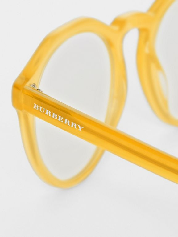 Keyhole Round Optical Frames in Ochre Yellow - Men | Burberry United Kingdom - cell image 1