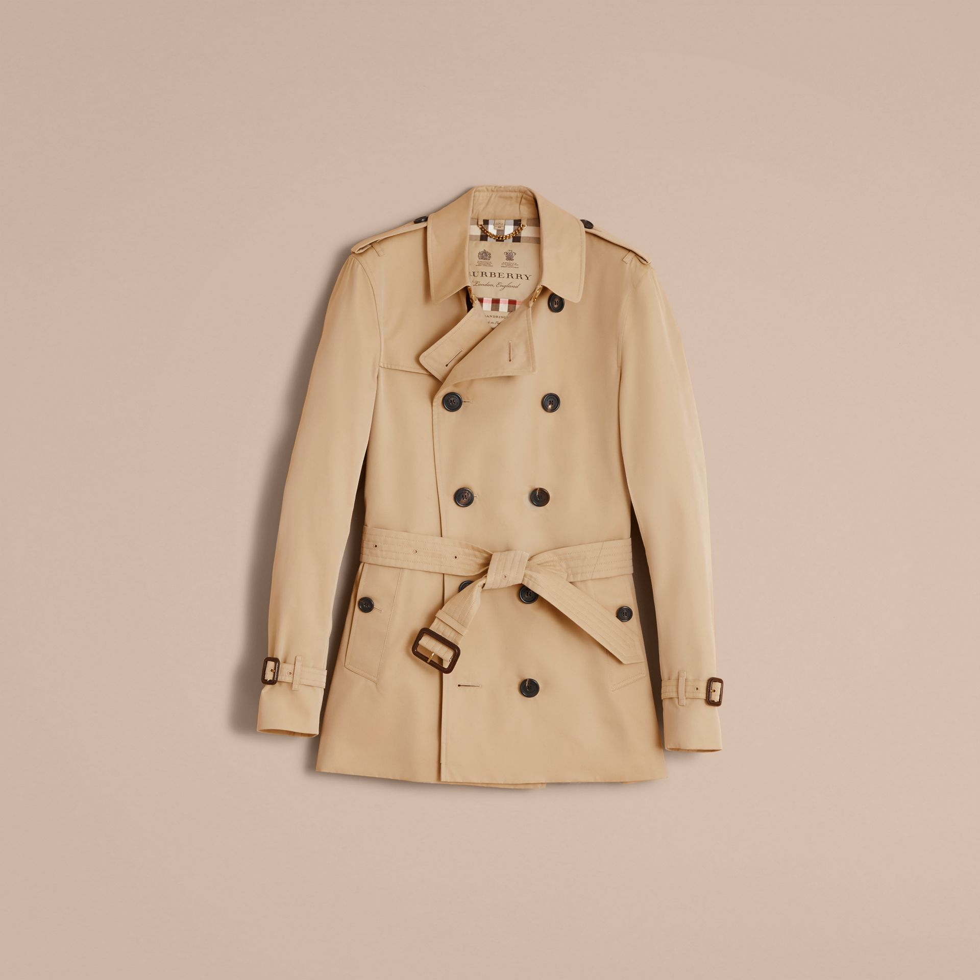 The Sandringham – Short Heritage Trench Coat in Honey - gallery image 4