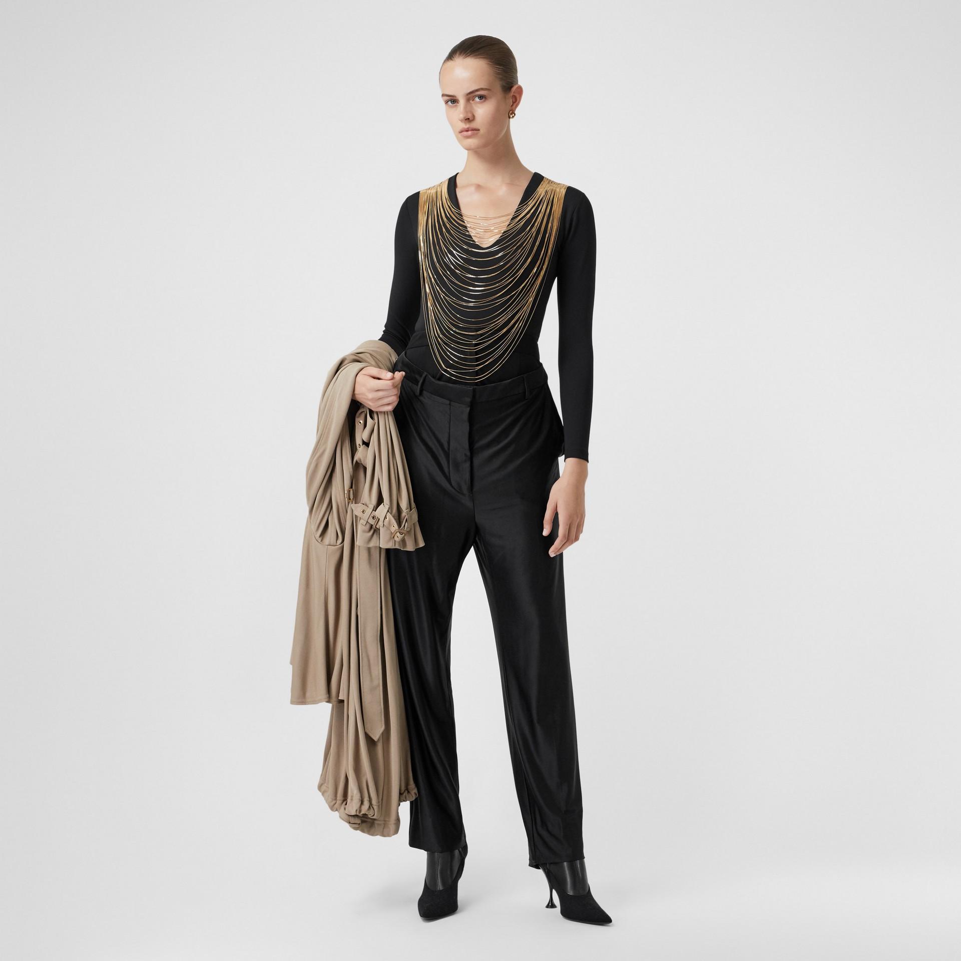 Chain Detail Stretch Jersey Bodysuit in Black - Women | Burberry United Kingdom - gallery image 4