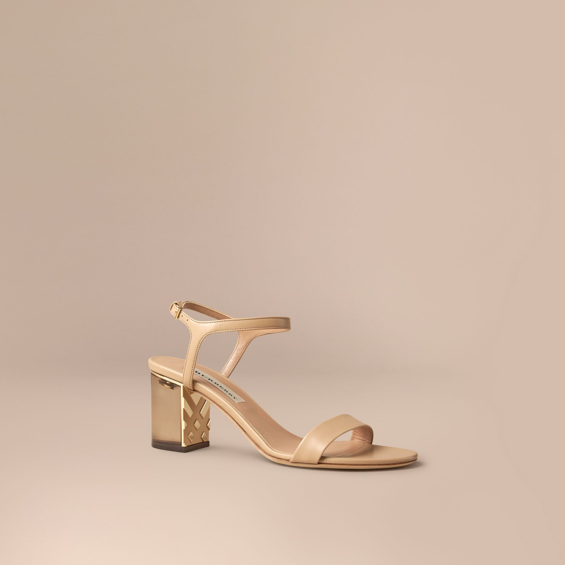 Light nude Check Detail Leather Sandals - gallery image 1