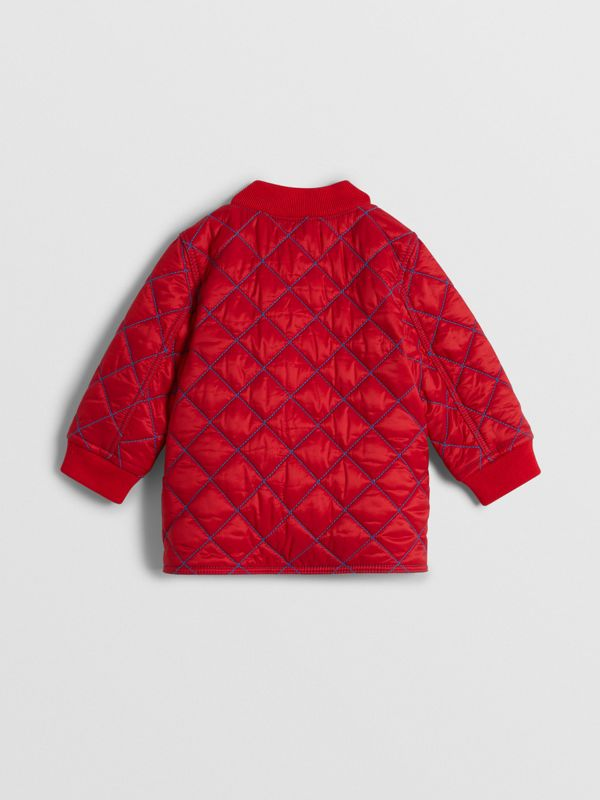 Topstitched Quilted Jacket in Bright Orange Red - Children | Burberry Australia - cell image 3