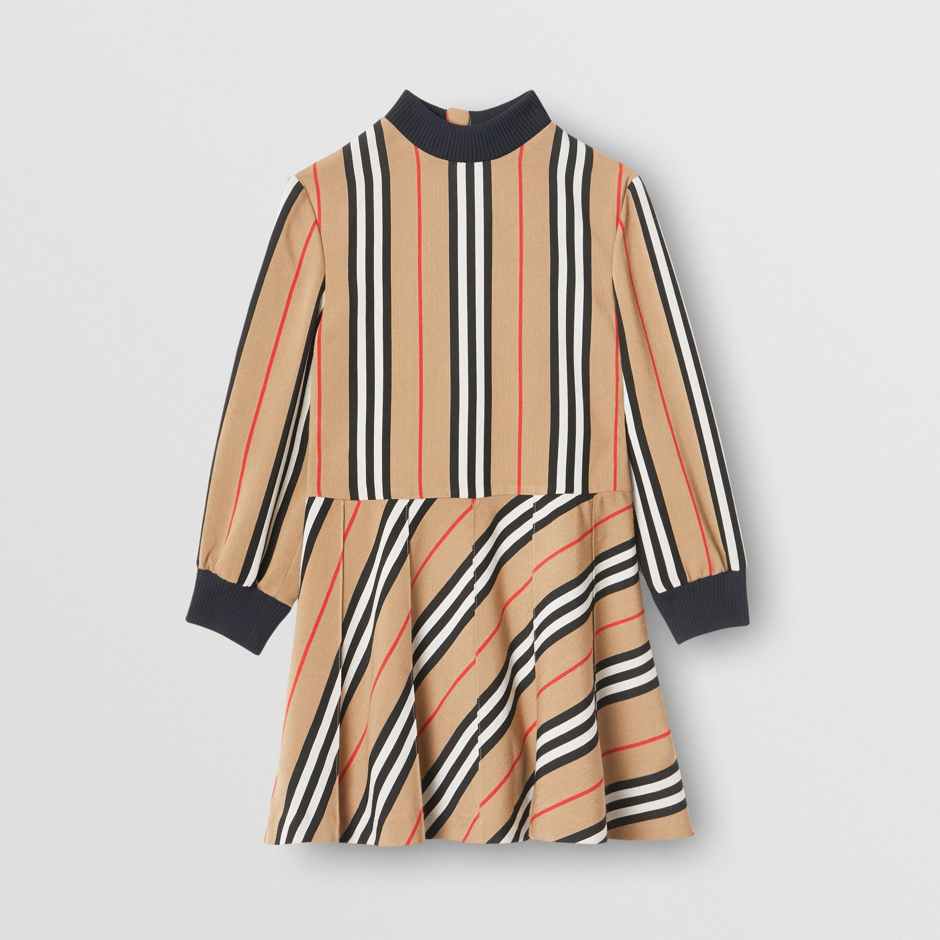 Long-sleeve Icon Stripe Turtleneck Dress in Archive Beige | Burberry - gallery image 0