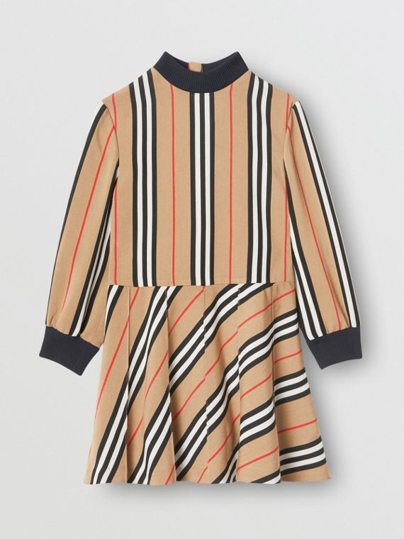 Long-sleeve Icon Stripe Turtleneck Dress in Archive Beige