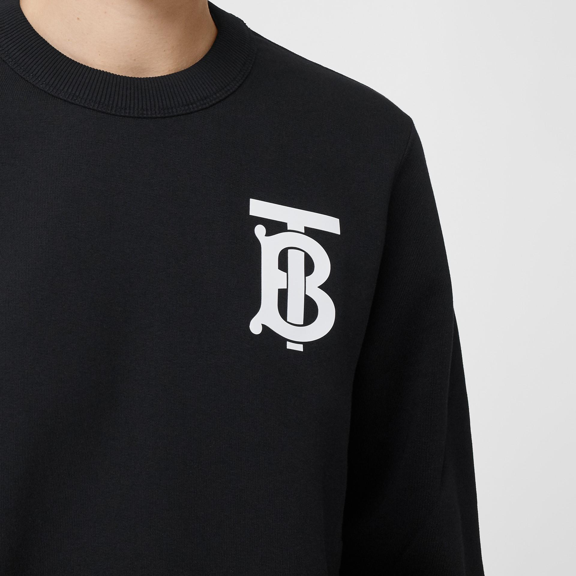 Monogram Motif Cotton Sweatshirt in Black - Women | Burberry - gallery image 1