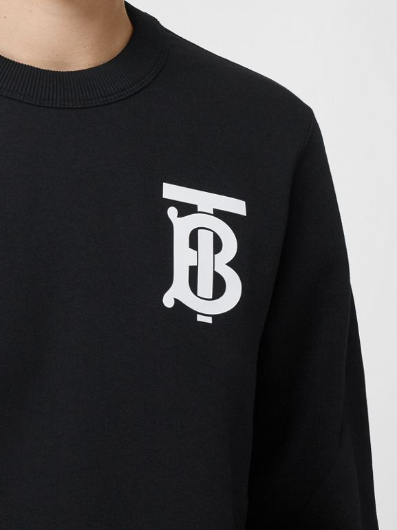 Monogram Motif Cotton Sweatshirt in Black - Women | Burberry United Kingdom - cell image 1
