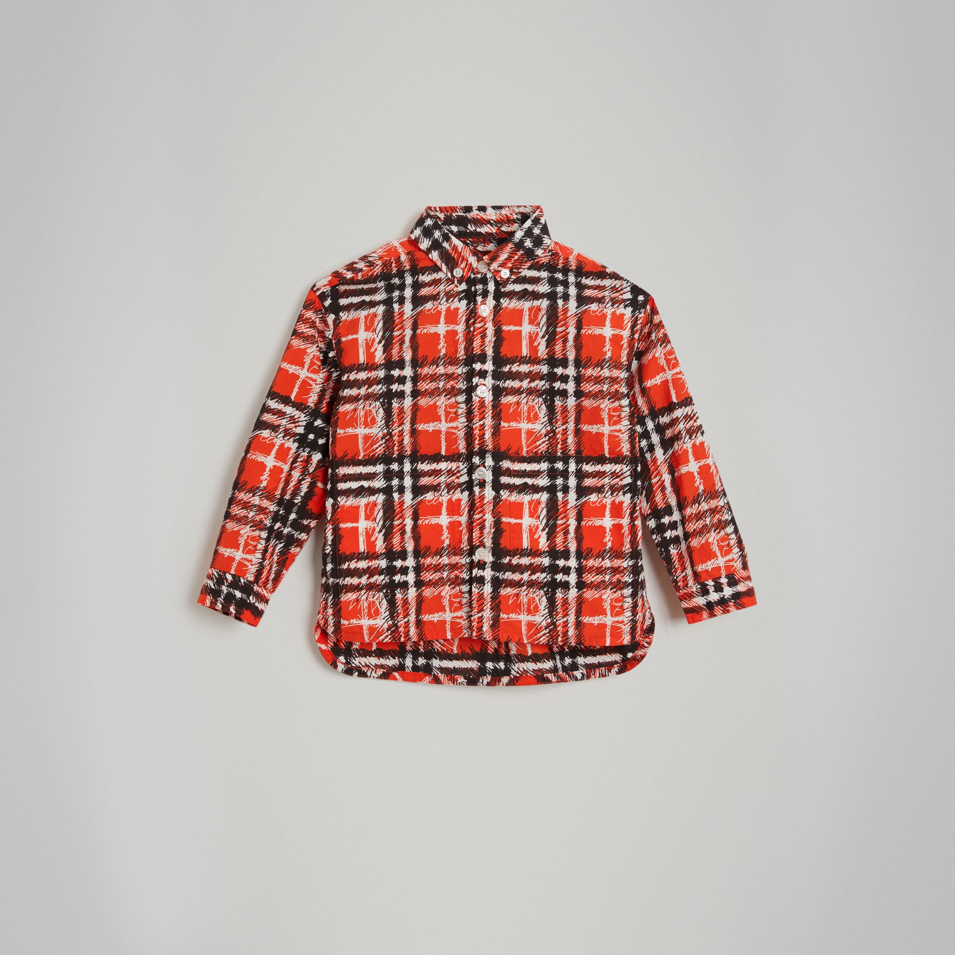 Scribble Check Button-down Collar Shirt in Bright Red | Burberry - gallery image 0