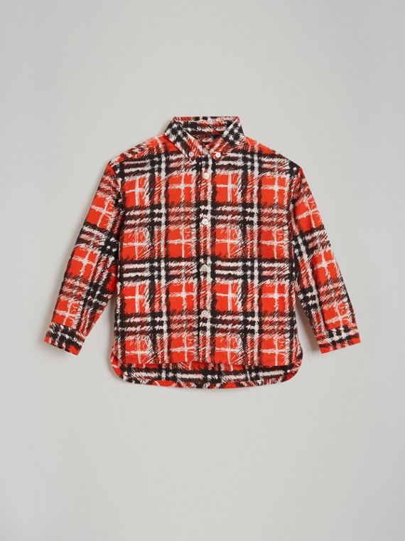 Scribble Check Button-down Collar Shirt in Bright Red