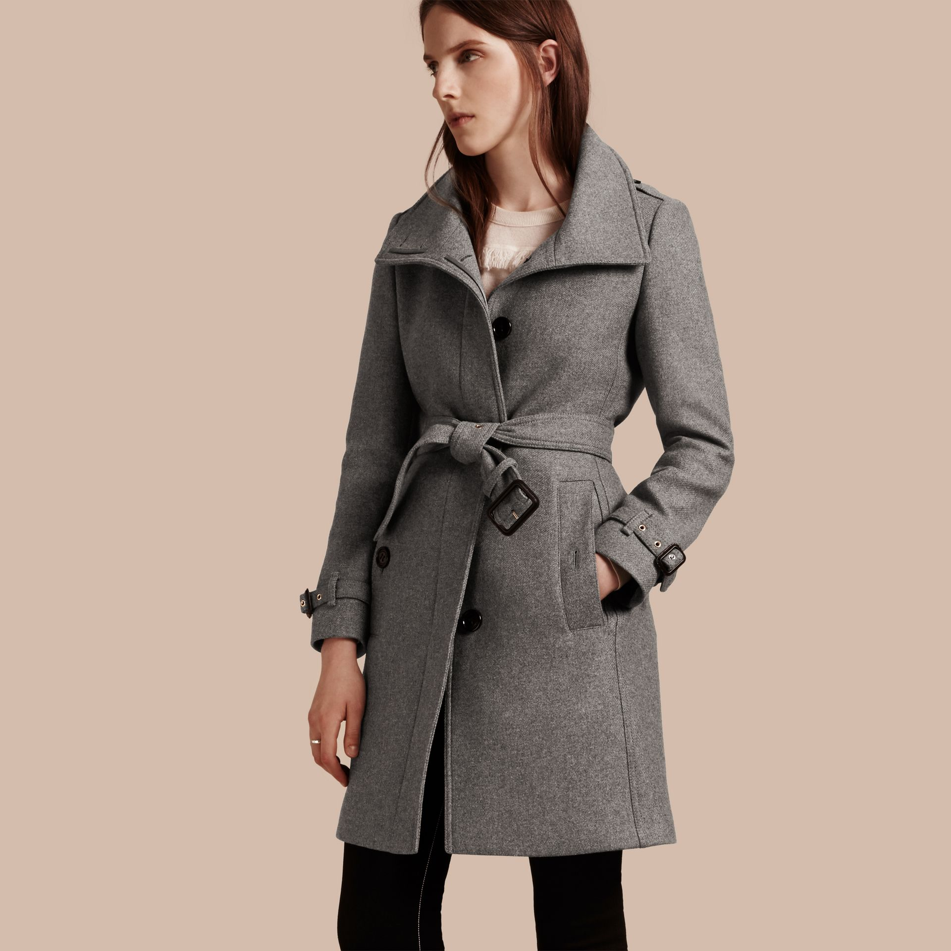 Technical Wool Cashmere Funnel Neck Coat in Steel Grey Melange - Women | Burberry - gallery image 1