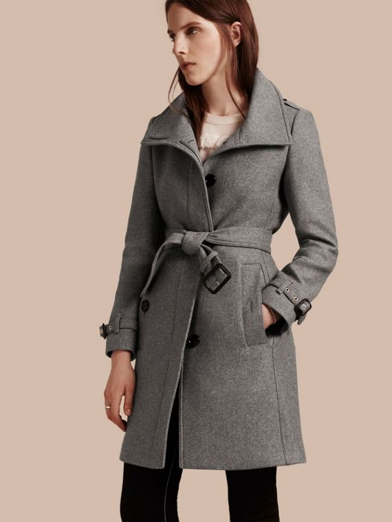 Technical Wool Cashmere Funnel Neck Coat in Steel Grey Melange - Women | Burberry