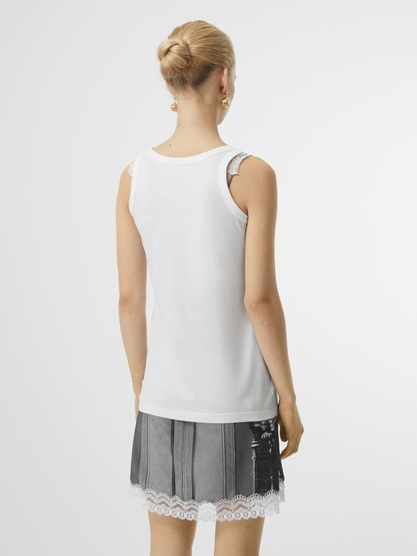Montage Print Cotton Vest in White - Women | Burberry Canada - cell image 2