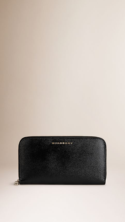 Black Patent London Leather Ziparound Wallet - Image 1