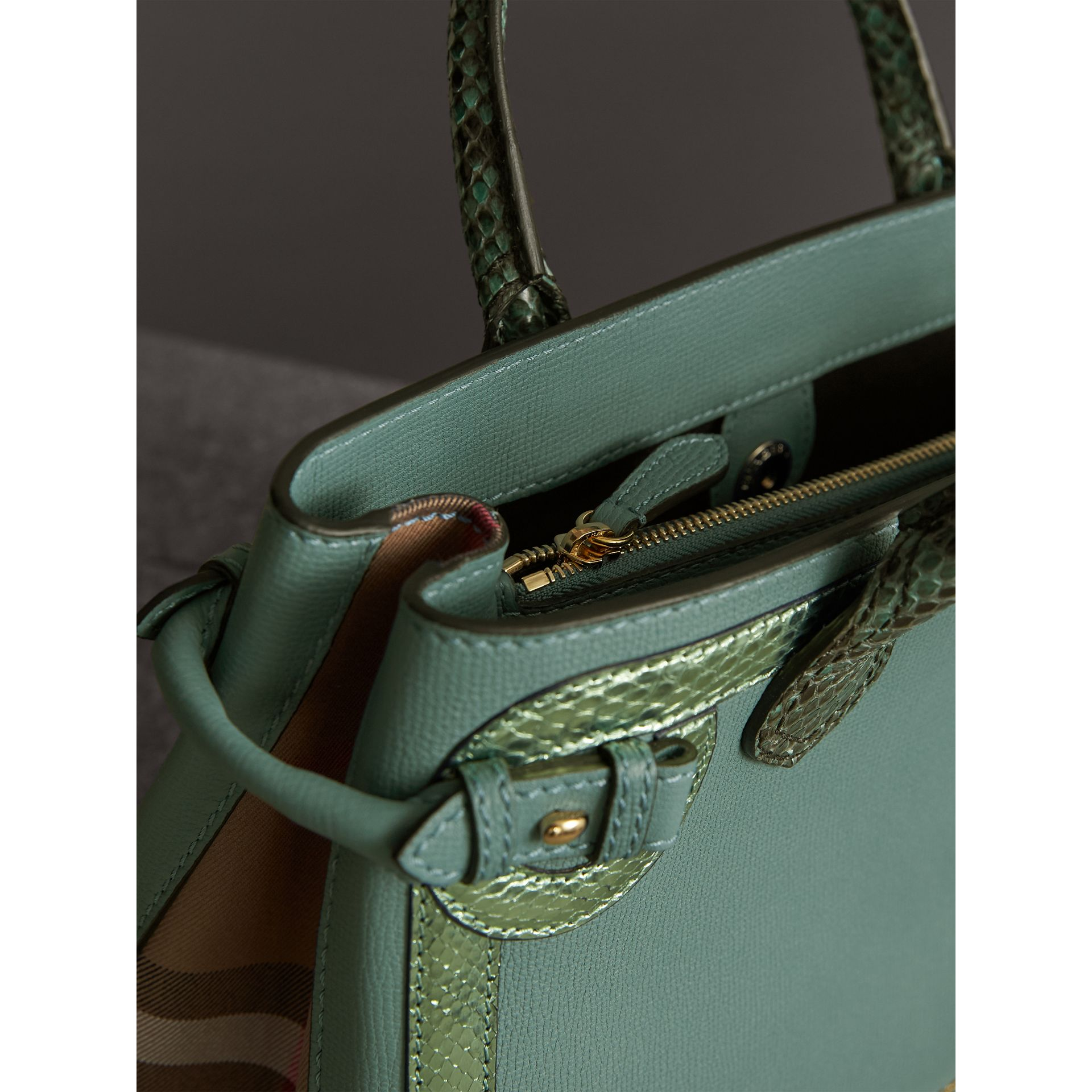 The Medium Banner in Leather with Metallic Python Appliqué in Celadon Blue - Women | Burberry - gallery image 6