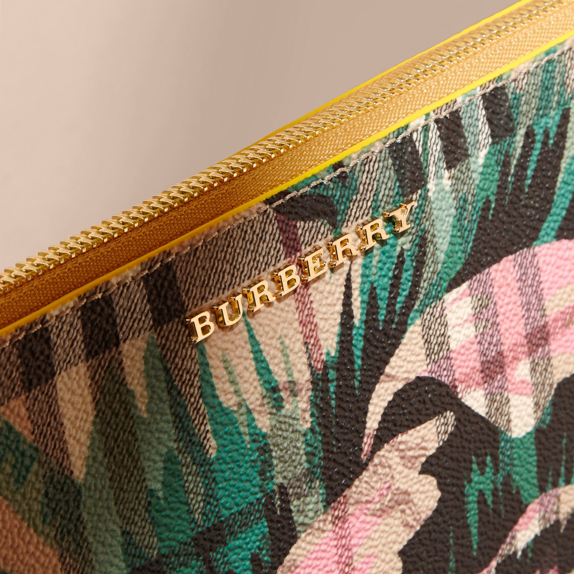 Larch yellow/emerald green Peony Rose Print Haymarket Check and Leather Clutch Bag - gallery image 7