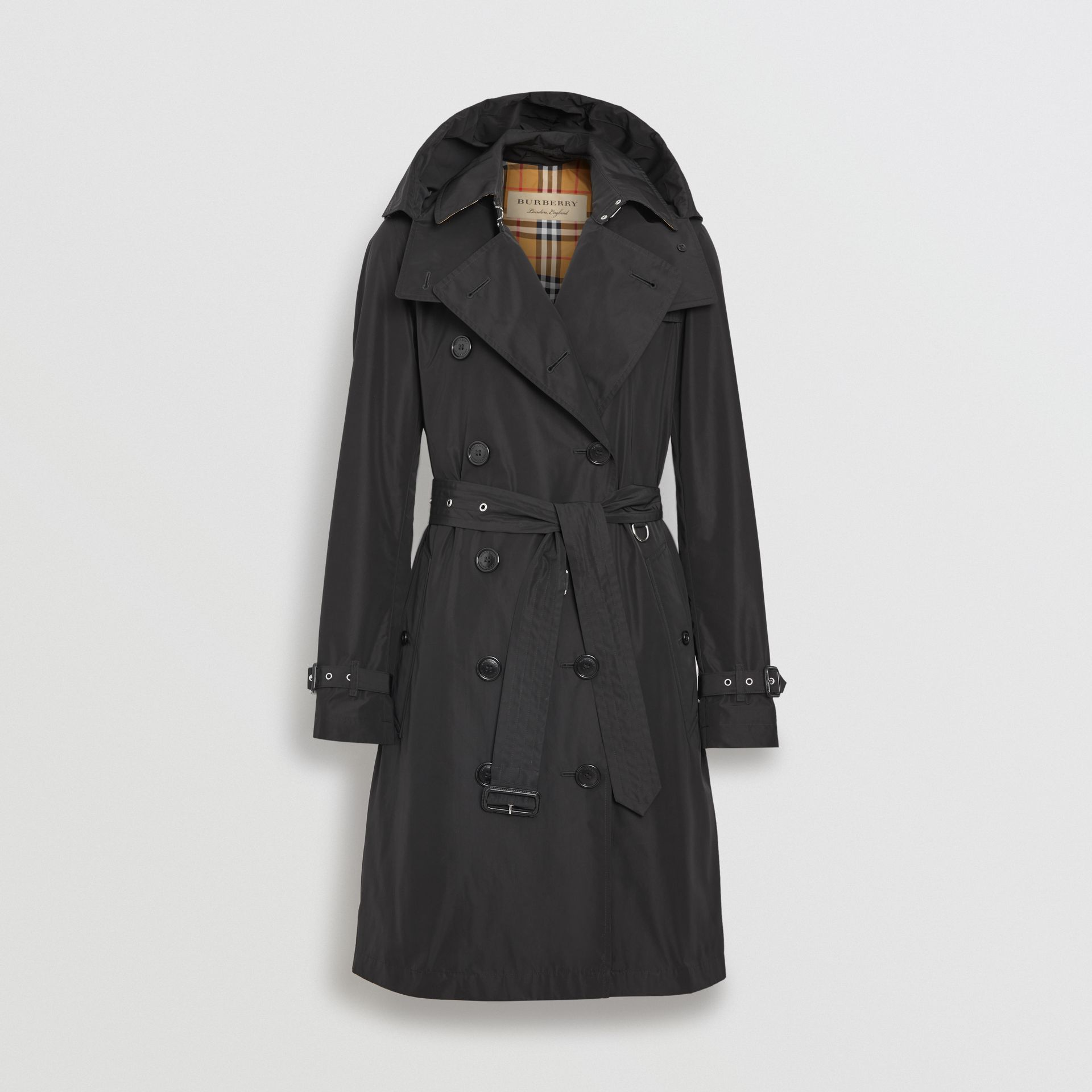 Detachable Hood Taffeta Trench Coat in Black - Women | Burberry Australia - gallery image 3