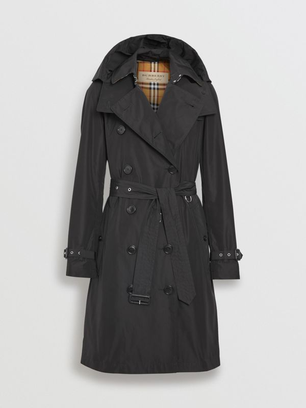 Detachable Hood Taffeta Trench Coat in Black - Women | Burberry Australia - cell image 3