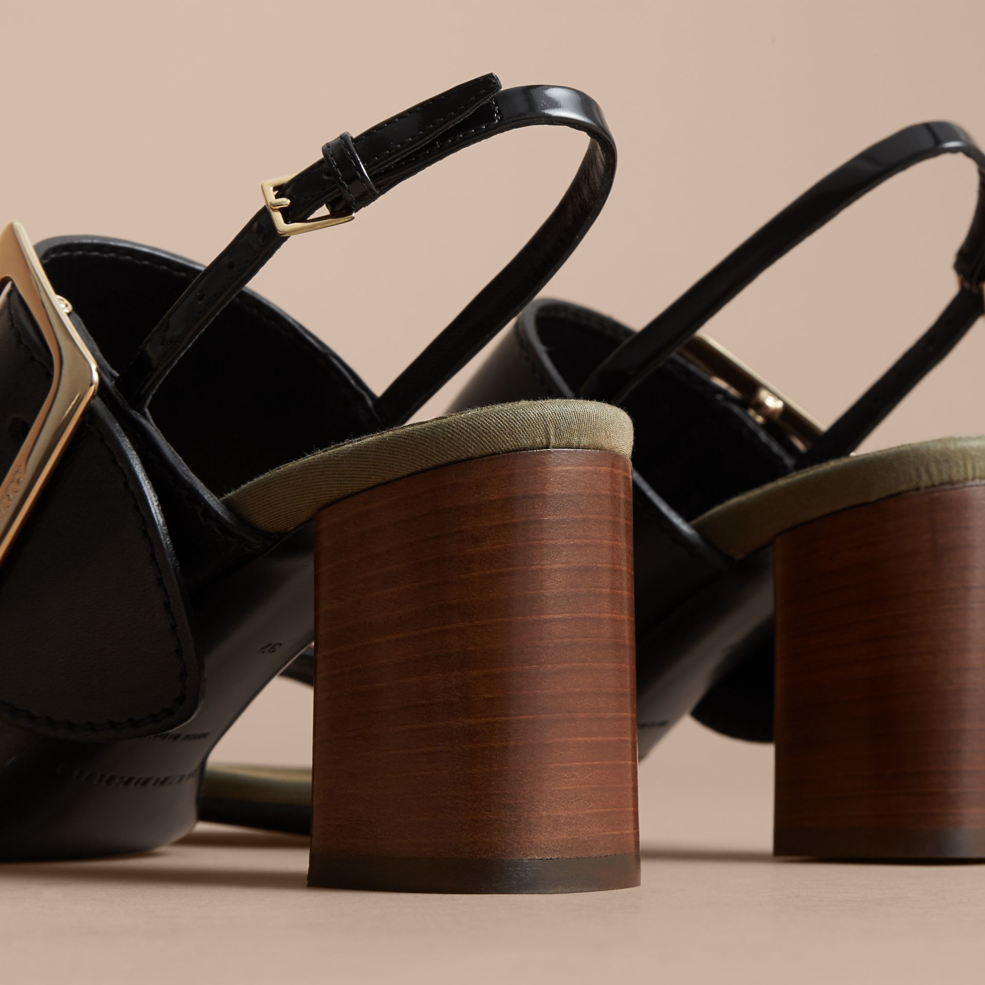 Buckle Detail Leather Sandals in Black - Women | Burberry Canada - gallery image 4
