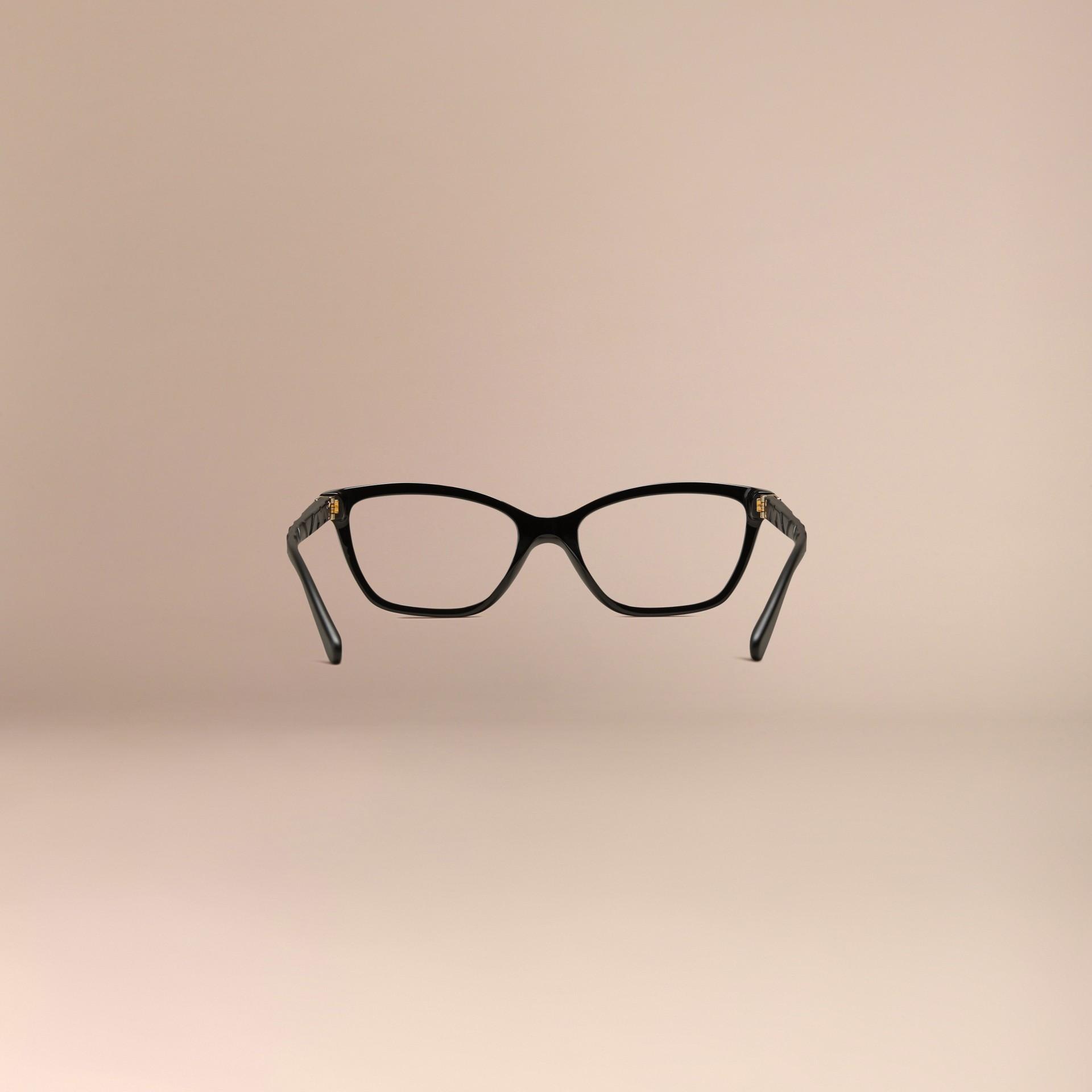 Black Check Detail Cat-eye Optical Frames Black - gallery image 4