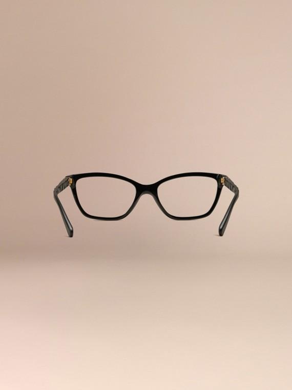 Black Check Detail Cat-eye Optical Frames Black - cell image 3